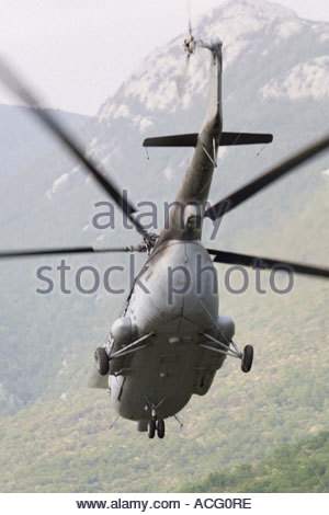 Croatian Air Force Mi-8 helicopter banking away - Stock Photo
