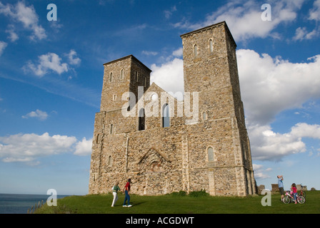Reculver Kent  Roman fort at Reculver with the remains of 12th century towers of parish church Near Herne Bay Kent - Stock Photo