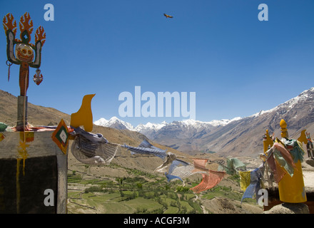 India Himachal Pradesh Spiti Dhankar monastery view from monastery roof with traditional prayer flags in frgd and - Stock Photo