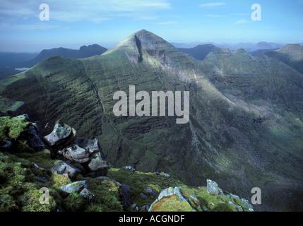 Beinn Alligin: view NW. from Tom na Gruagaich, the S.top, towards Sgurr Mhor 3,232', the main summit. Torridon - Stock Photo