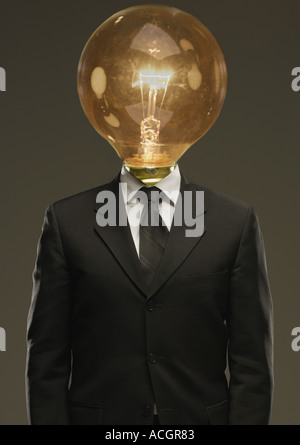Light bulb head - Stock Photo