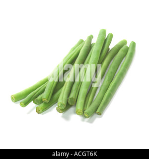 a fresh ripe pile of trimmed beans on a white background - Stock Photo