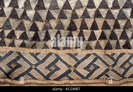 Woven raffia textile from The Democratic Republic of Congo DRC formerly known as Zaire Kuba tribe Applique decoration - Stock Photo