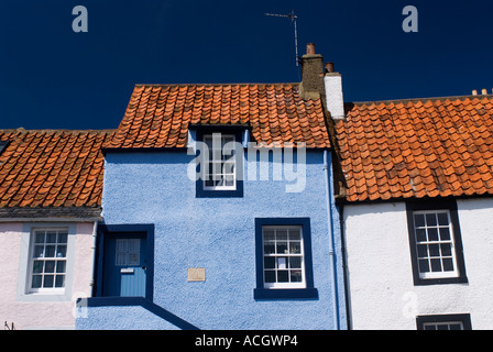 detail of old traditional fishermens houses in St Monans in East Neuk of Fife in Scotland - Stock Photo
