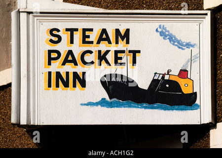A painted sign for the 'Steam Packet Inn' in Kircudbright, Dumfries and Galloway, Scotland, UK - Stock Photo