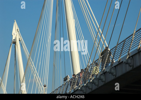 Close up of the Jubilee (Hungerford) Bridge over the River Thames near the South Bank London UK - Stock Photo