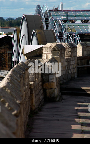Old city walls & railway station roof, York, UK - Stock Photo