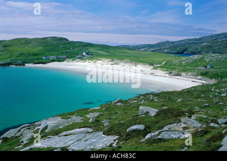 Beach and dunes of shell sand Huisinis North Harris Outer Hebrides Scotland UK Europe - Stock Photo