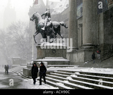People on the steps of the Museum of Natural History during a snow storm New York City USA North America - Stock Photo