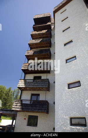Apartment buildings in Les Orres, Hautes Alpes, Provence, France - Stock Photo