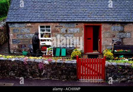 Gardener in the backyard at the old cottage - Stock Photo