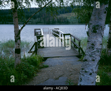 Typical timber lakeside pier, near Östersund, Jämtland, northern Sweden. - Stock Photo