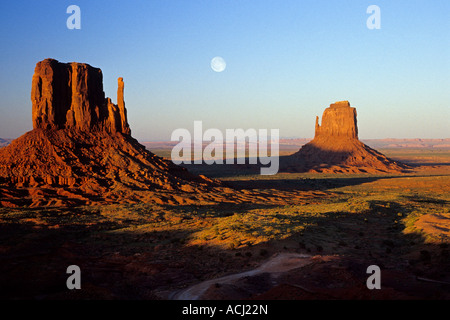 Moonrise over the Mittens, Monument Valley, Utah - Stock Photo
