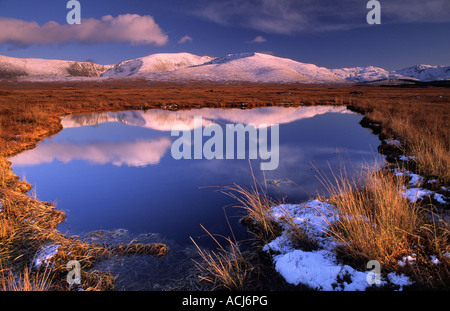 Winter reflections of the Nephin Beg Mountains in a bog pool. Wild Nephin Wilderness Area, Ballycroy, County Mayo, - Stock Photo