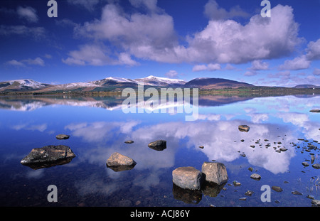 Snow capped Nephin Beg Mountains reflected in Beltra Lough, County Mayo, Ireland. - Stock Photo