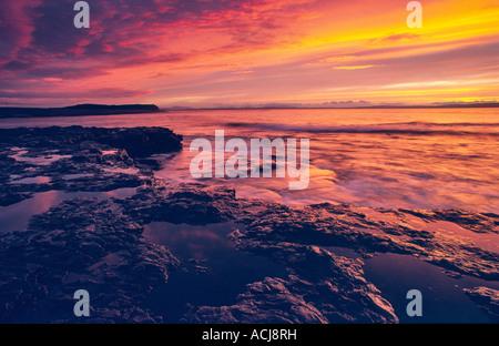 Sunset over the shore of Killala Bay, Co Sligo, Ireland. - Stock Photo