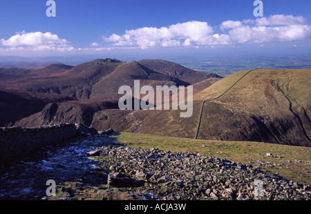 View across the Mourne Mountains from the summit of Slieve Donard, County Down, Northern Ireland. - Stock Photo