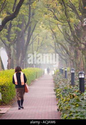 People on a foliage surrounded path. - Stock Photo