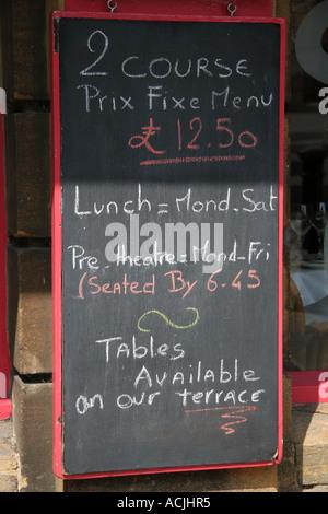 french restaurant fixed price menu in Surrey united kingdom - Stock Photo