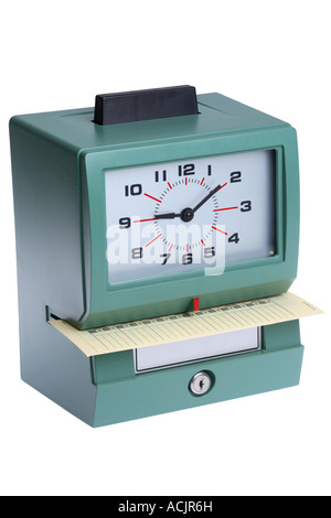 Time clock cut out on white background - Stock Photo