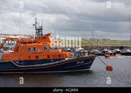 Portrush lifeboats Ken and Mary D class inshore and Katie Hannan Severn class largest in the RNLI fleet moored in - Stock Photo