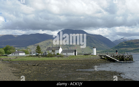 Entrance to Caledonian Canal at Corpach West Highlands of Scotland with Ben Nevis providing background - Stock Photo