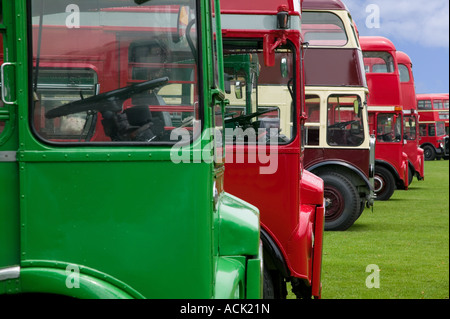 Vintage double decker buses in a row - Stock Photo