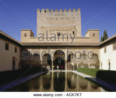 geography / travel, Spain, Granada, Alhambra, exterior view, first mentioned 9th century, extension 13th - 14th - Stock Photo