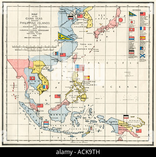 Map of the China Sea, the Philippines, and European colonies in the southeast Asia region 1898. Color lithograph - Stock Photo
