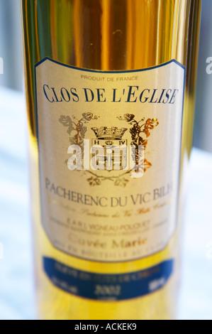 Bottle of Clos de l'Eglise Pacherenc du Vic Bilh Cuvee Marie Vigneau Pouquet Madiran France - Stock Photo