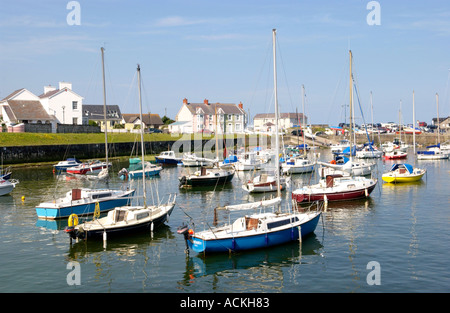 Aberaeron harbour filled with pleasure craft on a sunny summers day Ceredigion Wales UK GB - Stock Photo