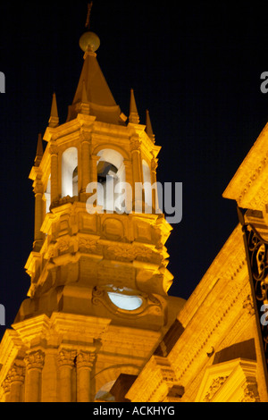 Basilica Cathedral, Plaza de Armas, Arequipa, Peru - Stock Photo
