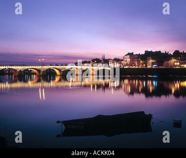 River Saone Macon Saone et loire Bourgogne-Franche-Comte France at sunset - Stock Photo