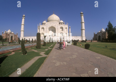 The Taj Mahal complex including both the western Mosque and the eastern Guest House Agra Uttar Pradesh India - Stock Photo