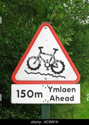 Mountain Bike warning sign at Cwmcarn Scenic Drive near Newport South Wales UK - Stock Photo