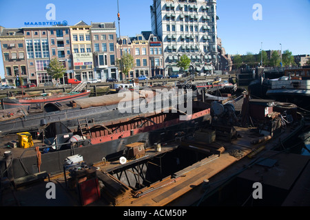 Rotterdam commercial industrial harbour Holland, Europe - Stock Photo