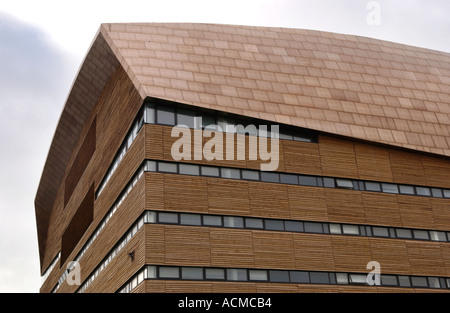 steel roof treated with copper oxide and timber cladding exterior stock photo royalty free