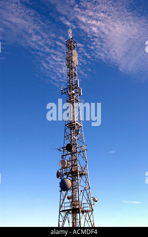 Radio communication masts in the Brecon Beacons National Park South Wales UK - Stock Photo