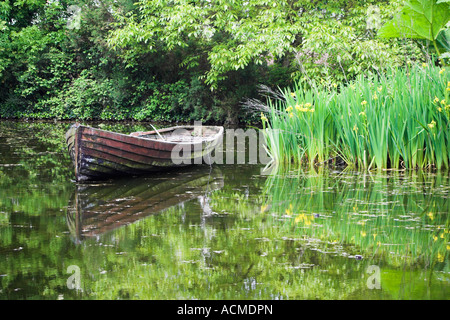 Rowing boat in a pond at Bunratty Folk Park Co Clare Ireland - Stock Photo
