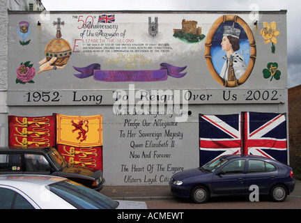 Long To Reign Over Us Mural to commemerate the golden jubilee of Queen Elizabeth II Spier s Place Shankill Road - Stock Photo