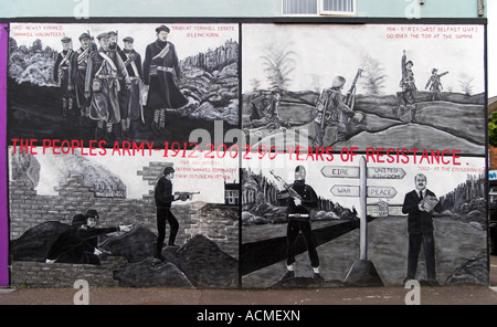 90 Years of Resistance A loyalist mural Canmore Street off Shankill Road - Stock Photo