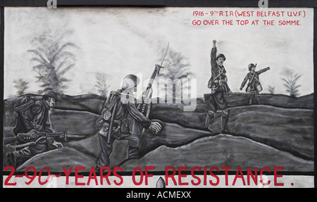 Over the top at the Somme A loyalist mural Canmore Street off Shankill Road - Stock Photo