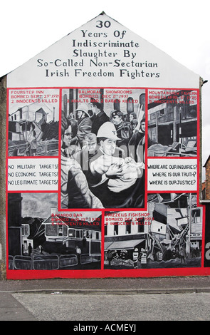 30 Years of Indiscriminate Slaughter Unionist Loyalist Mural on the Shankill road - Stock Photo