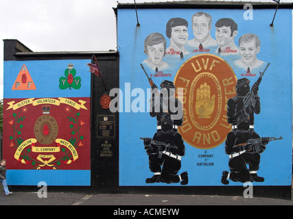Two Loyalist Murals and a Memorial Emerson Street off Shankill Road - Stock Photo