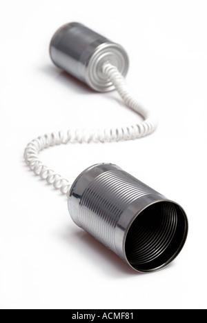 Tin can telephone - Stock Photo