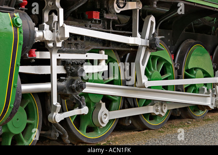 close up of the wheels of a large steam train symbolising power - Stock Photo