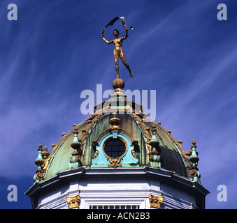 Sculpture atop dome at the Grand Place square in the center of Brussels - Stock Photo