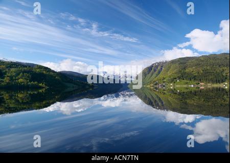 View from Ulvik over Ulvikfjorden, Hordaland, Norway - Stock Photo