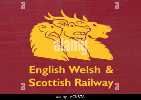 English Welsh Scottish Railway Logo on side of Class 66 freight locomotive - Stock Photo