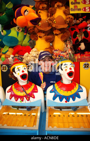 Laughing clown game sideshow alley dsc 1966 - Stock Photo